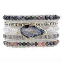Wholesale unique beads for bracelets resale online - Unique Natural Stones Druzy Wrap Bracelet Female Handmade Boho Bracelet For Women Girls White Leather Bracelet Dropshipping J190703
