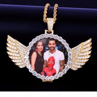 Wholesale medallion necklace for sale - Group buy Gold Custom Made Photo With Wings Medallions Necklace Pendant mm Tennis Chain Cubic Zircon Men Hip hop Jewelry x5 cm