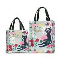 Wholesale handbag style lunch bags for sale - Group buy London Style PVC Reusable Shopping Women s Eco Friendly Flower Shopper Waterproof Handbag Lunch Tote Shoulder Bag C0922