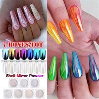 Wholesale nails art salon resale online - Nails Mirror Glitter Nail Chrome Pigment Shell Dazzling DIY Salon Micro Holographic Powder Laser Nail Art Decorations Manicure