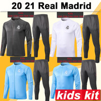 Wholesale soccer wear kits resale online - 20 Real Madrid Jacket kids Kit Soccer Jerseys New HAZARD SERGIIO RAMOS BENZEMA Tracksuit Child Suit Training Wear Football Shirts Top