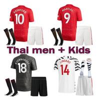 Wholesale 20 manchester BRUNO FERNANDES POGBA soccer jersey LINGARD RASHFORD football shirts united uniforms man kids UtD kit jerseys