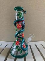 Wholesale painted glasses resale online - 32CM Inch Hand Painting Bong Rose Snake Skull Glass Bongs Pipe mm Thick Beaker Bongs US Shiping