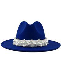 Wholesale women winter hats pearls for sale - Group buy Women Men Wool Fedora Hat With Pearl Ribbon Gentleman Elegant Lady Winter Autumn Wide Brim Church Panama Sombrero Jazz Cap CM
