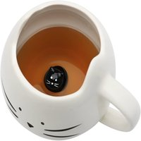 Wholesale black white cat mugs resale online - Creative Cute Ceramic Cat Mug Black White ml Coffee Cup With Handle Single Layer Ceramic Animal Milk Mug Small Cat In The