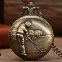 Bronze Antique 3D Golf Man Poket Watch Men Boy Quartz Analog Display Clock with Long Necklace Chain Watches reloj de bolsillo