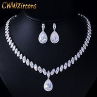 Wholesale cubic zirconia wedding necklace earrings resale online - CWWZircons High Quality Cubic Zirconia Wedding Necklace and Earrings Luxury Crystal Bridal Jewelry Sets for Bridesmaids T109 CX200808