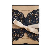 Wholesale cards birthday printable resale online - Navy Blue Laser Cut Invitation Card Stock With Envelopes Birthday Invitations Printable For Wedding Bridal Shower Engagement