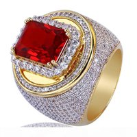Wholesale gold rings for male resale online - Men Gold Color Hip Hop Rings Micro Pave Big Red CZ Stone All Iced Out Bling Rings for Male Female Jewelry