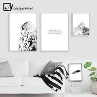Wholesale painting snow landscape resale online - NICOLESHENTING White Owl Snow Mountain Canvas Poster Landscape Wall Art Prints Nordic Style Painting Picture Home Decoration