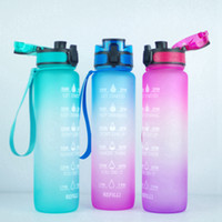Wholesale water color markers resale online - 1000ml Gradient Color One click Opening Fliptop Spring Lid OZ Motivational Fitness Outdoor Sports Water Bottle With Time Marker RRA3529