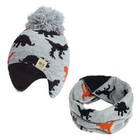 Wholesale bomber children hats resale online - Kid Hat And Scarf Set Baby Beanies Dinosaur Jacquard Bonnet Acrylic Hat Soft Nap Inside Warm Bomber Hat