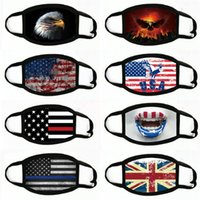 Wholesale rivet flag resale online - Cycling Face Mask Punk Rivet Masks Pentagram American Flag Printing Masks Personality PU Fabric Breathable Cycling Masks