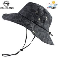 Wholesale army boonie hats resale online - UPF Bucket Hat Men Women Bob Boonie Hat Summer UV Protection Camouflage Cap Army Hiking Tactical Outdoor Sun