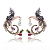 Wholesale chinese gold plated earring for sale - Group buy Shining Colorful Zircon Drop Earrings Chinese Phoenix Fine Jewelry Wedding Dangle Earrings for Women Gril Gift