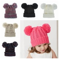 Wholesale toddler crochet for sale - Group buy Winter Knitting Hat Girl Lovely Double ball Knitted Cap Toddler Warm Skullies Caps Kid Crochet Pompom Beanie Outdoor Warm Hat LJJP448