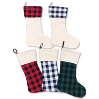 Wholesale customs socks for sale - Group buy Christmas socks custom red and Black Plaid Christmas gift bag holiday decoration Candy Bag Pendant Decoration Styles UPS T3I51192
