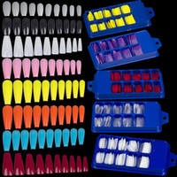 Wholesale black blue tip nails resale online - 100pcs Ballerina French Fake Nail Tips Artificial Clear Coffin False Nails Tip Full Cover Press On Long Ballerina Acrylic Nails