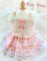 handmade Dog Apparel clothes Adorable Princess dress Pastoral Rose lace pet outfit for poodle Maltese French bulldog