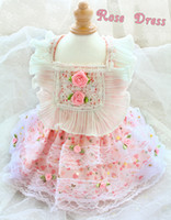 Free shipping handmade dog clothes Adorable Princess dog dress Pastoral Rose lace pet clothes for poodle Maltese French bulldog