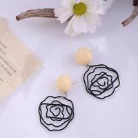 Wholesale black spiral earrings resale online - iQE5F flower Earring and silver earrings needle Black Rose earrings hollow s925 temperament eardrop acrylic earring small short spiral Hjt5Y