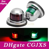 Wholesale boat bow lights resale online - 1 Pair Stainless Steel v Led Bow Navigation Light Red Green Sailing Signal Light For Marine Boat Yacht Q0371