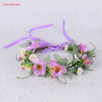 Wholesale hair accessories jewels for sale - Group buy Korean style bow wreath band Butterfly jewelry headdress rattan flower hair band fashion colorful bride hair accessories Hawaii wreath jewel