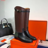 Wholesale long genuine leather boots women resale online - Long boots cowhide high heel boots luxury women high heels designer women shoes leather Chain linked Rubber Sole Lovers