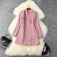 2020 Fall Autumn Long Sleeve Notched-Lapel Black   Pink Pure Color Panelled Double-Breasted Pin Blazers Casual Outwear Coats LAG25T11219