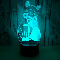 led cat party lights 2021 - Remote Control Touch Colorful 3D night lights Cute Cat 3D Lamp Acrylic 3D Vision LED Small table Lamp christmas Gift