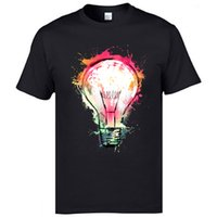 Wholesale paint ideas for sale - Group buy Top Quality Fashion Tee Shirts Wathercolor Painting Bulb Ideas Creative Tshirts Mens Breathable Tshirts Pure Cotton T Shirts Man