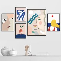 Wholesale art lover painting resale online - Abstract Creative Girl Face Lover Plant Wall Art Canvas Painting Nordic Posters And Prints Wall Pictures For Living Room Decor