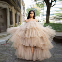 2020 Chic Women Hi Low Tulle Skirts Ruffled Sexy Tulle Dresses Strapless Sheer Puffy Prom Dresses Women Maxi Long Party Dress With Train