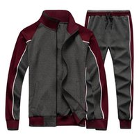 Wholesale yellow running sets resale online - Men s Sportswear Casual Spring Tracksuit Men Two Pieces Sets Stand Collar Jackets Sweatshirt Pants Joggers Track Suit Running