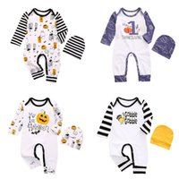 Wholesale infant halloween onesies for sale - Group buy Newborn Baby Jumpsuit My st Halloween Striped Onesies Infant Cartoon Long Sleeve Jumpsuits Kids Boys Clothes Girls Outfits With Hat