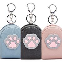 Wholesale cute cat purses resale online - Cute cat claw creative key chain coin Pendant wallet Small bag wallet purse Mini small bag pendant