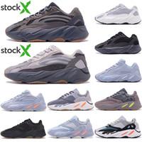 Wholesale 3M Reflective Wave Runner Kanye West v2 Solid Grey static Magnet Teal Carbon Blue Runing Shoes Men Designer Shoes Women Static Sneakers