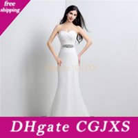 Wholesale china mermaid sweetheart wedding dress resale online - Lace Mermaid Wedding Dresses China Cheap Elegant White Ivory Sweetheart Beaded Sash Long Bridal Gown Real Photos Instock