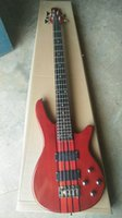 Wholesale custom guitar neck china resale online - New Custom Made strings bass Red Colour Neck Thru Body electric bass Guitar Strings China bass