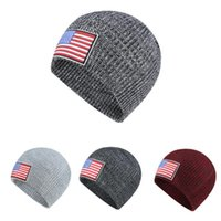 Wholesale nationals cap resale online - National Flag Knitted Hats Autumn Winter Knitted Woollen Hat Ear Protection Against Cold Head Cap Outdoor Men Women Sports Caps DHB1396