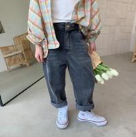 Wholesale kids long boots resale online - ins Newest Fall Kids Boys Girls Jeans Denim Trousers Korean Jeans Girls Boys Casual Denim Pants Long Trousers Children Clothes