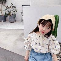 Wholesale Children s Clothing Summer New Girls Korean Summer Puff Sleeve Cotton Short Sleeve Shirt