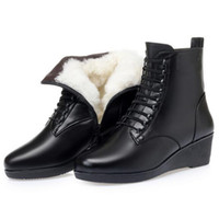 chaussures d'hiver femme slip noir achat en gros de-HOT ! New Fashion Top Cowhide Leather Boots Black Shoes Women's Boots Large Size Non-slip Wedges Warm Plush   Wool Winter Snow Boots