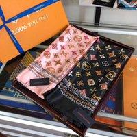 Wholesale georgette chiffon scarf shawl resale online - 2020 Fashionable and beautiful women four seasons silk scarf brand letter flower design scarf shawl size cm scarfZL092
