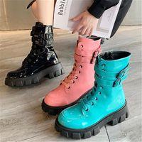 Wholesale punk black sneaker resale online - New Punk Boots Women Patent Leather Platform Sneakers Autumn CM Wedge Heels Mid Calf Boots Woman Motorcycle Black