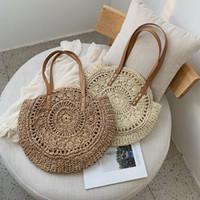 Wholesale bohemian totes resale online - Casual Rattan Women Shoulder Bags Circle Straw Handbags Big Capacity Handmae Summer Totes Lady Round Bohemian Beach Treval Sac