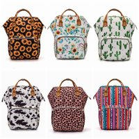 Wholesale diaper bag resale online - Sunflower Diaper Bag Leopard Stripe Mummy Backpack Waterproof Outdoor Nappy Bag Large Capacity Backpack Travel Bag Handbag Baby Care YFA450