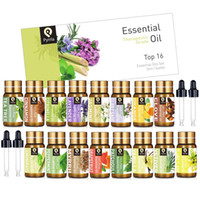 Pyrrla 5ml 16pcs Pure Essential Oil Gift Set with Oil Dropper Lavender Lemongrass Peppermint Orange For Aromatherapy Humidifier