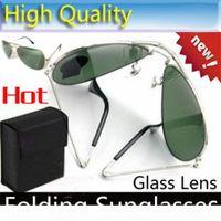 Wholesale top sight resale online - Top quality Folding Sunglasses glass Lens glasses Mens brand designer Sun glasses unisex Sunglasses Women s Folding glasses