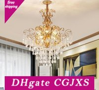 Wholesale acrylic chandelier chain resale online - Crystal Modern Gold Chandelier For Living Room Bedroom Study Room Home Deco Acrylic v Crystal Chandelier Fixtures Myy